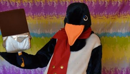 Mascot: Costume of a Penguin with Ice-Cream