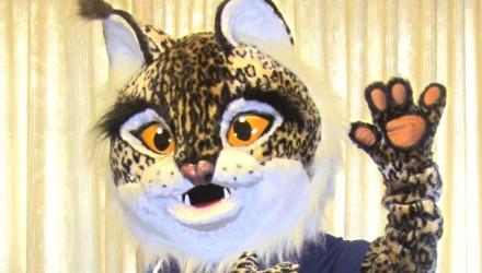 FC Ventspils' mascot: Lynx costume
