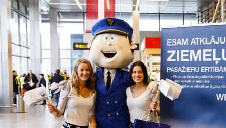 Riga airport mascot: pilot costume