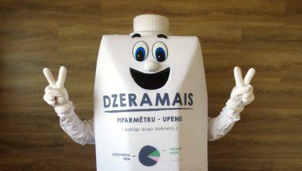 Dabas Dots's mascot: Dzeramais costume