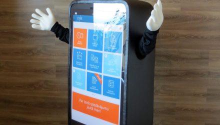 DNB bank's mascot: cellphone costume