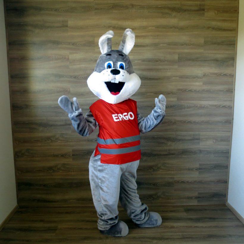 ERGO's mascot: Grey hare costume